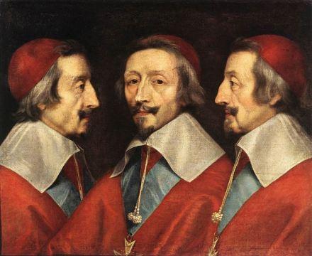 Triple retrato de Richelieu, pintado en 1642 por Philipphe de Champaigne.