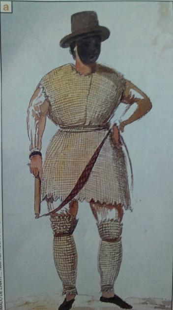 """Dibujo de Claudio Litani de 1828 que reproduce a un """"empetatado"""" en el carnaval que se celebraba en Palenque."""