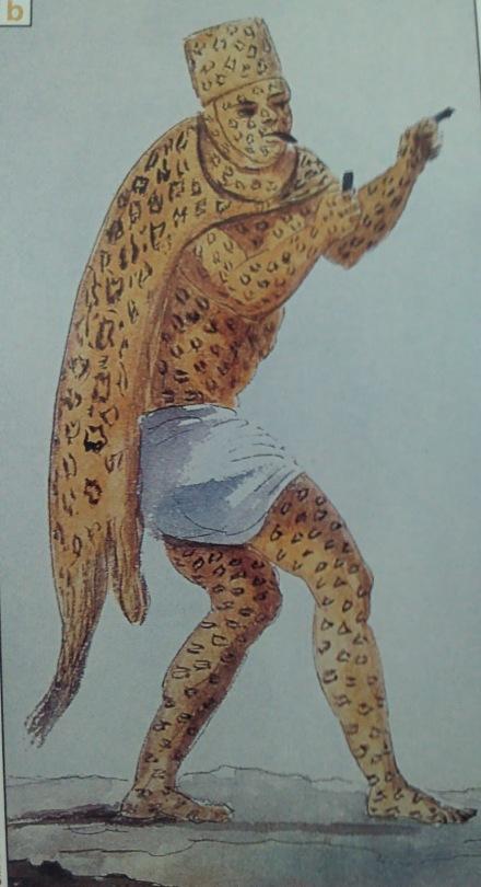 Dibujo de Claudio Litani en 1828 de un tigre en el carnaval que se celebraba en Palenque.