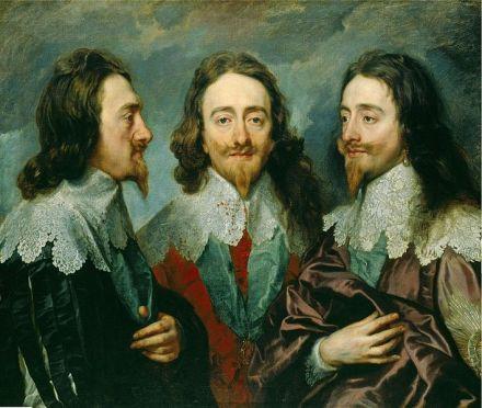 Charles I, Rey de Inglaterra, desde tres ángulos, óleo pintado en 1636 por Anthony Van Dyck.
