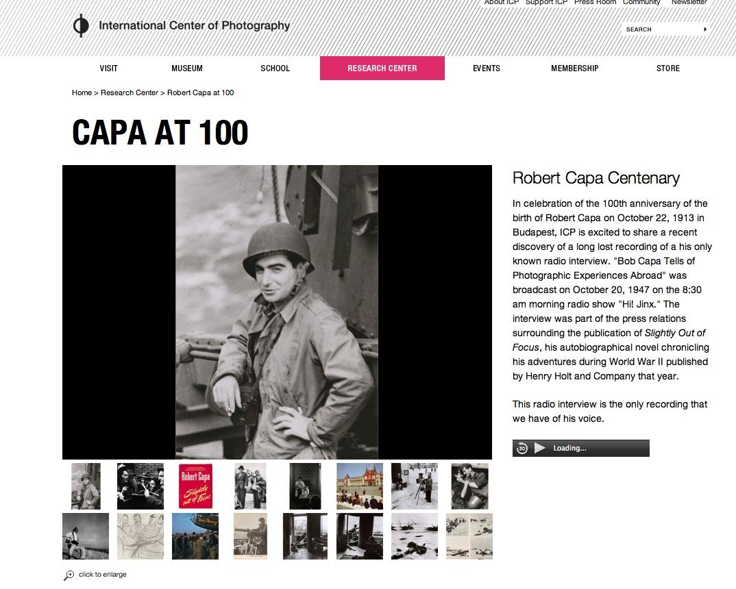 La página del International Center of Photography con el anuncio de la grabación de Robert Capa.