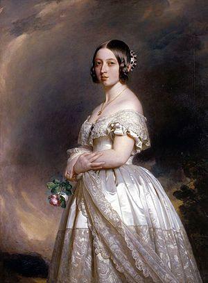 Pintura de la reina Victoria vestida de novia, por Winterhalter.