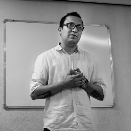 César Holm, durante el curso sobre docencia fotográfica que impartió en el Centro de la Imagen de Tabasco la primera semana de septiembre del 2015.